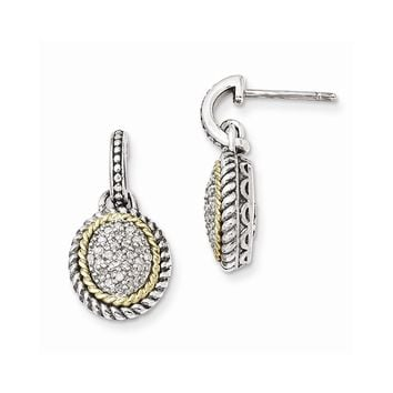 Sterling Silver w/14k Gold Antiqued Diamond Post Dangle Earrings
