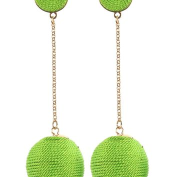 Mint Green Color Cord Wrapped Chunky Ball Chain Drop Earring