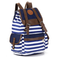 Navy Blue and White Travel Bag Canvas Lightweight Backpack