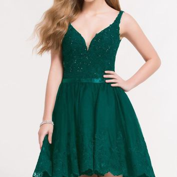 Alyce Paris - 3724 Beaded Lace Plunging High Low Cocktail Dress