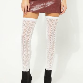 White Pointelle Knit Thigh High Socks