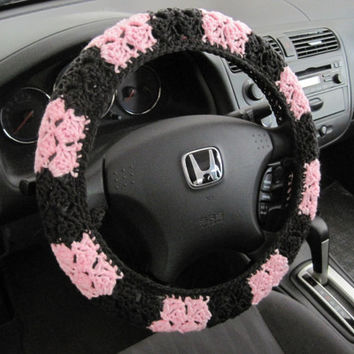Crochet Steering Wheel Cover, Wheel Cozy - petal pink/dark grey (CSWC 2UUU)