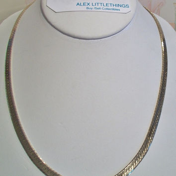 Vintage Herringbone Chain Necklace Retro Gold Tone Unisex Costume Jewelry