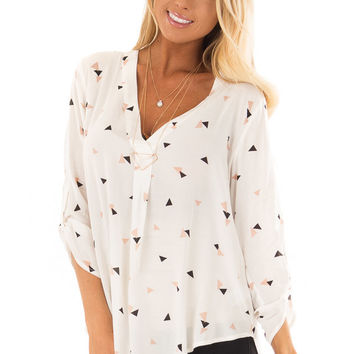 Cream Triangle Print Blouse with 3/4 Length Sleeves