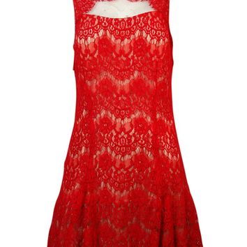 Betsy & Adam Women's Lace Flare Hem Dress