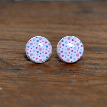 Pastel Polka Dots Earrings, Colorful Post Earrings, Polka Dots Stud Earrings, Polymer Clay Earrings, Resin Jewelry