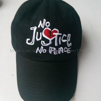 No Justice No Peace Dad Cap Strapback Hat Black And Denim