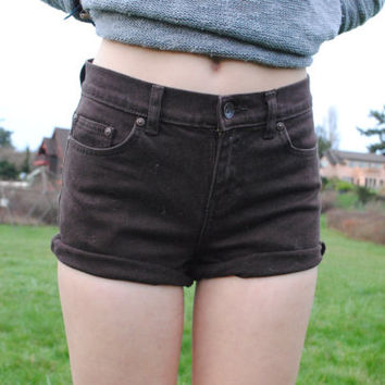 Brown Cuffed High Wasted Shorts ( size 2)