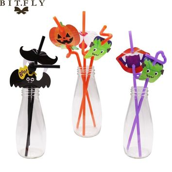 12pcs Juice Cocktail Straws Halloween Pumpkin bats Fireworks Drinking Straws Hawaiian Bar Theme Wedding event Party Decoration