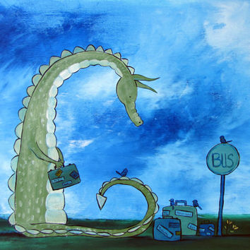 Kids Wall Art, Original Acrylic Dragon Painting, Fairytale Nursery Decor, Storybook Style Artwork for Children and Baby, Cute Whimsical Art