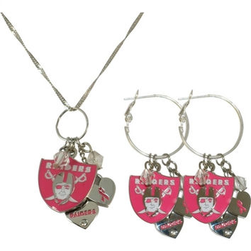 Pro Specialties Oakland Raiders Breast Cancer Awareness Necklace & Earring Set