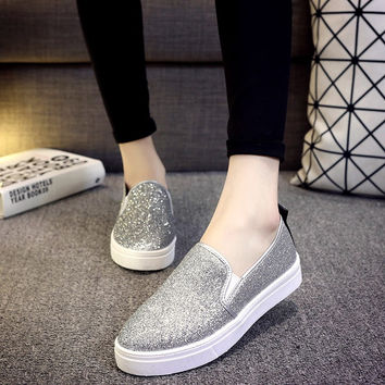 Free shipping 2015 Women's shoes summer European new leather sequins thick soles platform shoes with flat female
