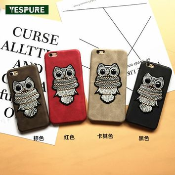 YESPURE Mobile Phone Shell Animal Owl Embroidery Phone Cases for IPhone 7plus Luxury Women Cases for Iphone 6 6s