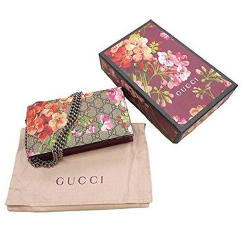 ONETOW Gucci Red Blooms Bag Floral Crossbody Box Bloom Navy Medium Purse Italy New