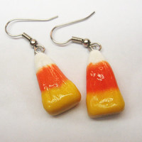 Candy Corn Earrings, polymer clay