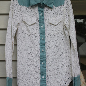 Lace Button Up Blouse, Cowgirl Shirt, Denim