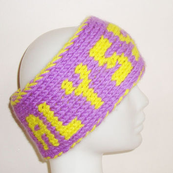 Hand Knit Personalized Ear Warmer Headband in Neon Yellow, Purple