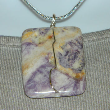 90ct. Cream and Lavender  Stone, Semi Precious, Agate, Pendant, Necklace, Rectangle, Natural Stone, 128-15