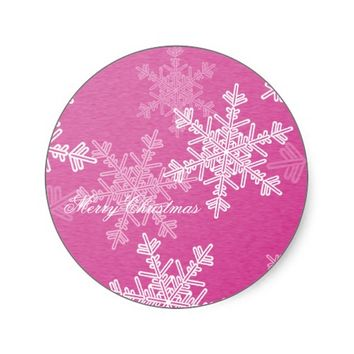 Girly pink and white Christmas snowflakes Sticker