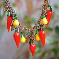Glass Chili Pepper necklace peppers jewelry Pear lampwork jewelry Fall necklace Autumn jewelry hot chilli pepper Food necklace Harvest fruit jewelry Lampwork beads necklace Mini food jewelry