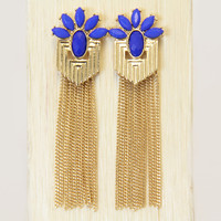 Royal Blue Petal Chain Tassel Earrings