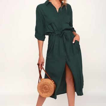 Brewer Forest Green Midi Shirt Dress