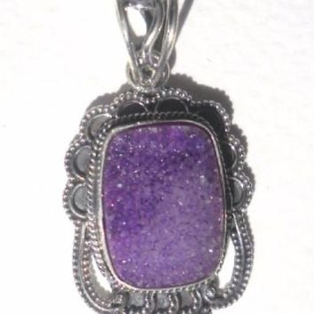 925 Sterling Silver Amethyst Druzy Pendant Necklace