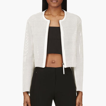 Helmut Lang White Leather Mesh Siftjacket