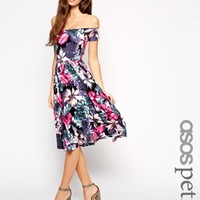 ASOS PETITE Exclusive Bardot Midi Dress in Oversize Floral Print