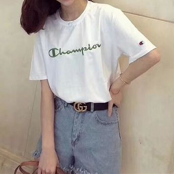 """Champion"" Women Casual Fashion Simple Letter Logo Embroidery Short Sleeve T-shirt Top Tee"