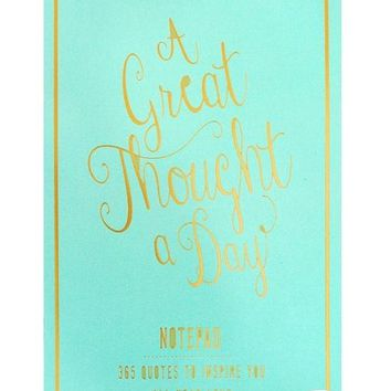 Great Thought A Day Inspirational Notebook in Seafoam Green and Gold