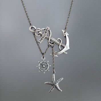 Lost at Sea Necklace by SBC Antique Silver Anchor Starfish, Gunmetal Chain, Nautical Necklace, Starfish Anchor Necklace, Ahoy Sailor