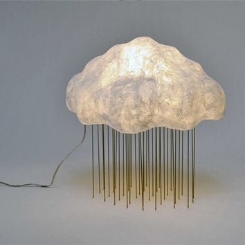 Cloud Silver Rain Table Lamp - Raining Clouds Of Glowing Light