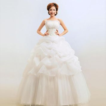 2017 Hotest White/Red Cheap Ball Gown Dress Strapless Wedding Dress Lace Zipper Princess Pregnant Maternity HS006 Customize Size
