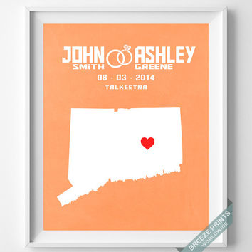 Wedding, Print, Connecticut, Customized, Anniversary, Couple, Personalized, Gift, Map, Custom, Wall Art, Home Decor, Marriage, Love [NO 6]