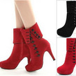 Red High Heel Suede Boots