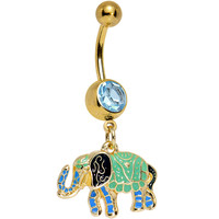 Aqua Gem Gold Blue Green Hip to the Scene Elephant Dangle Belly Ring