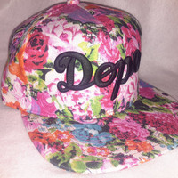 Pink & black Dope Floral all over print snapback hat w