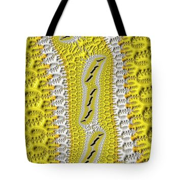 Fractal Pattern Yellow And White Tote Bag