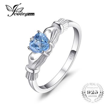 JewelryPalace Size 4-10 Romantic Love Heart Aquamarine Wedding Ring Jewelry 0.4ct Solid 925 Sterling Silver Fashion Women