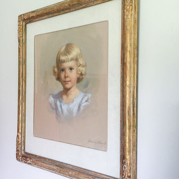 Vintage Mid Century Hand Drawn Little Girl Framed and Signed Pastel Portrait for Home Decor or Prop Display