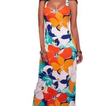 Floral Printing African Summer Long Maxi Dress