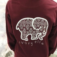 2016 Trending Fashion Red Ivory Ella Cartoon Elephant Long Sleeve Round Necked Top Shirt T-Shirt