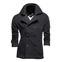 Jeansian Men's Fashion Double Buttons Woolen Jacket Coat Outerwear Blazer Tops 9315