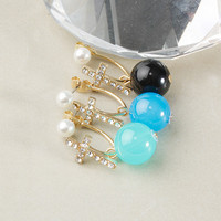Cross Double Sided Pearl Earrings (MULTIPLE COLORS AVAILABLE)