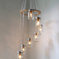 Spiral Mason Jar Chandelier Hanging Swag Lighting by BootsNGus