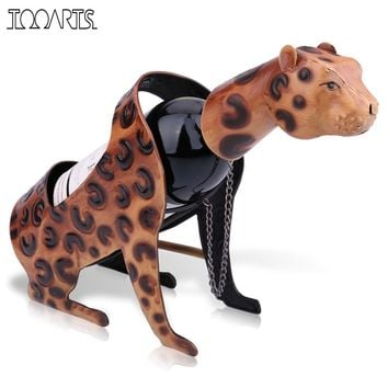 TOOARTS Leopard Wine Holder Metal Animal Wine Rack Sculpture Bar Wine Bottle Stand Practical Interior Home decoration Crafts