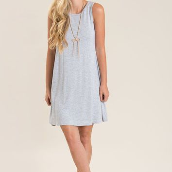 Denise Grey Sleeveless Swing Dress