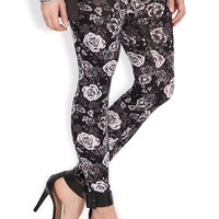 Black and White Floral Print Leggings