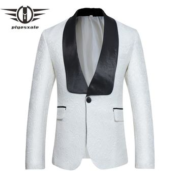 Blue White Blazer Men Slim Fit Men Embroidered Blazer Shawl Collar Casual Suit Jacket Wedding Prom Blazers